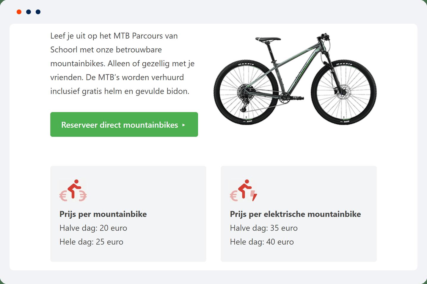 portfolio WordPress project Fietsenwinkel Schoorl voorbeeld 2