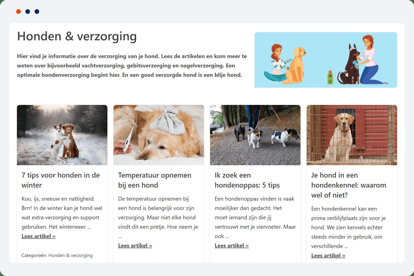 portfolio WordPress project Gelukkige Honden voorbeeld 2